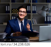 Купить «Auditor looking for errors in financial reporting for company», фото № 34238026, снято 21 декабря 2017 г. (c) Elnur / Фотобанк Лори
