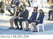Купить «King Felipe VI of Spain, Queen Letizia of Spain, Crown Princess Leonor, Princess Sofia attend Spanish Royals attends State tribute to the victims of the...», фото № 34241254, снято 16 июля 2020 г. (c) age Fotostock / Фотобанк Лори