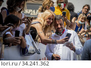 Leader of Lega party Matteo Salvini meets the demonstrators during the sit-in in front of Montecitorio Palace to ask for justice for Chico Forti ,Rome,ITALY-16-07-2020. Редакционное фото, фотограф Alessandro Serrano' / AGF/Alessandro Serrano' / / age Fotostock / Фотобанк Лори