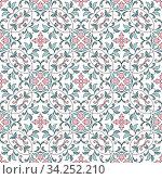 Seamless pattern with floral elements. Seamless template for your design. Стоковая иллюстрация, иллюстратор Ольга Козырина / Фотобанк Лори