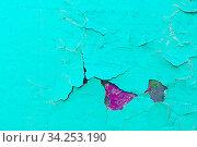Texture peeling paint background - turquoise peeling paint on the old rough concrete surface. Стоковое фото, фотограф Зезелина Марина / Фотобанк Лори