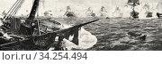 Battle of Trafalgar, painting by Justo Ruiz Luna. From La Ilustracion Española y Americana 1895. Стоковое фото, фотограф Jerónimo Alba / age Fotostock / Фотобанк Лори