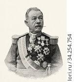 Pedro Pin y Fernández, general commander of the spanish army in Cuba. From La Ilustracion Española y Americana 1895. Стоковое фото, фотограф Jerónimo Alba / age Fotostock / Фотобанк Лори