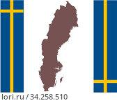 Landkarte von Schweden auf Hintergrund mit Fahne - Map of Sweden on background with flag. Стоковое фото, фотограф Zoonar.com/lantapix / easy Fotostock / Фотобанк Лори