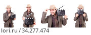 Man with movie clapperboard and hat. Стоковое фото, фотограф Elnur / Фотобанк Лори