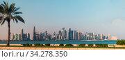 Doha, Qatar - Nov 21. 2019. View of West Bay Doha skyscrapers from Gulf. Редакционное фото, фотограф Володина Ольга / Фотобанк Лори
