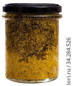 Organic pesto sauce in glass jar. Стоковое фото, фотограф Яков Филимонов / Фотобанк Лори