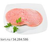 Closeup of sliced tasty ham on plate. Стоковое фото, фотограф Яков Филимонов / Фотобанк Лори