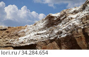 Dead sea salt (against the background of moving clouds) at Jordan, Middle East. Стоковое видео, видеограф Владимир Журавлев / Фотобанк Лори