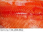 Купить «Raw seafood, fresh fillet salmon fish on board», фото № 34284862, снято 3 августа 2020 г. (c) Яков Филимонов / Фотобанк Лори
