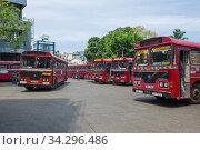 Купить «Красные междугородние автобусы на Центральном автовокзале. Коломбо, Шри-Ланка», фото № 34296486, снято 22 февраля 2020 г. (c) Виктор Карасев / Фотобанк Лори