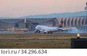 Купить «Airplane landing in Frankfurt», видеоролик № 34296634, снято 21 июля 2017 г. (c) Игорь Жоров / Фотобанк Лори