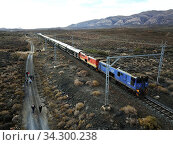 The Rovos Rail luxury train travelling between Cape Town and Pretoria in South Africa. In the Karoo town of Matjiesfontein station. Pride of Africa beautifully... Стоковое фото, фотограф Sergi Reboredo / age Fotostock / Фотобанк Лори