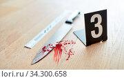 Messer mit Blut am Tatort als Beweismittel nach einem Mord. Стоковое фото, фотограф Zoonar.com/Robert Kneschke / age Fotostock / Фотобанк Лори