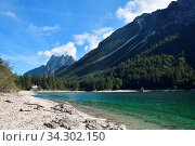 Panoramic view of Predil Lake in Italy near Austrian Border and Tarvisio Town. Der Raibl-See oder Predil-See an der italienischen Seite des Predil-Passes. Стоковое фото, фотограф Zoonar.com/Karin Jähne / easy Fotostock / Фотобанк Лори