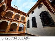Graz, Austria 02.10.2019: View at Eggenberg palace courtyard tourist spot, famous travel destination in Styria. Стоковое фото, фотограф Zoonar.com/Przemyslaw Iciak / easy Fotostock / Фотобанк Лори
