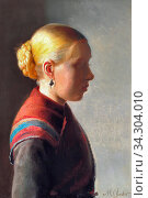 Ancher Michael Peter - Young Girl (Maren Brens) - Danish School - 19th and Early 20th Century. Редакционное фото, фотограф Artepics / age Fotostock / Фотобанк Лори
