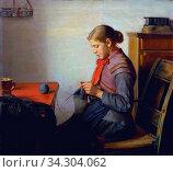 Ancher Michael Peter - Skagen Girl Maren Sofie Knitting - Danish School - 19th and Early 20th Century. Редакционное фото, фотограф Artepics / age Fotostock / Фотобанк Лори