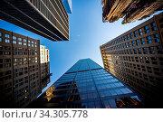 Купить «Blurred Background of low angle view of skyscrapers in New York», фото № 34305778, снято 4 августа 2020 г. (c) easy Fotostock / Фотобанк Лори