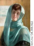 Berchmans Emile - Portrait De Femme Au Voile Bleu - Belgian School - 19th and Early 20th Century. Редакционное фото, фотограф Artepics / age Fotostock / Фотобанк Лори