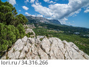 Mountain landscape of the southern coast of Crimea in summer (2019 год). Стоковое фото, фотограф Володина Ольга / Фотобанк Лори