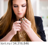 Woman working on her eyelashes in beauty concept. Стоковое фото, фотограф Elnur / Фотобанк Лори
