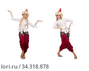 Young female magician isolated on white. Стоковое фото, фотограф Elnur / Фотобанк Лори