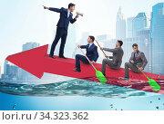 Teamwork concept with businessmen on boat. Стоковое фото, фотограф Elnur / Фотобанк Лори