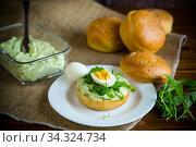 Купить «Homemade bun with cheese spread, fresh arugula and boiled egg in a plate», фото № 34324734, снято 17 апреля 2020 г. (c) Peredniankina / Фотобанк Лори