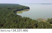 Купить «Aerial video of forest boggy lake in the Karakansky pine forest near the shore of the Ob reservoir.», видеоролик № 34331466, снято 25 июля 2020 г. (c) Serg Zastavkin / Фотобанк Лори