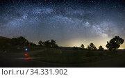 Milky way over Gudar mountains Teruel starlight spot in Spain. Стоковое фото, фотограф Ana del Castillo / age Fotostock / Фотобанк Лори