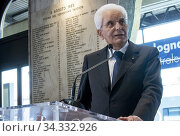 Купить «Italian Republic President Sergio Mattarella during his speech in memory of the victims of the Bologna station massacre ,Bologna, ITALY-30-07-2020.», фото № 34332926, снято 30 июля 2020 г. (c) age Fotostock / Фотобанк Лори