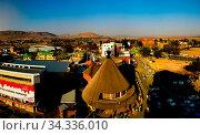 Souvenir shop in the form of traditional Basotho hat aka mokorotlo at Maseru, Lesotho. Стоковое фото, фотограф Zoonar.com/Sergey Mayorov / easy Fotostock / Фотобанк Лори