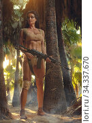 Athletic woman holding gun posing in palm trees forest. Стоковое фото, фотограф Alexander Tihonovs / Фотобанк Лори