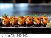 Salmon Foie gras roll, Fusion Japanese Cuisine food. Стоковое фото, фотограф Zoonar.com/Vichie81 / easy Fotostock / Фотобанк Лори