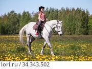 Купить «Little girl in pink rides a horse at sunny day», фото № 34343502, снято 30 мая 2020 г. (c) EugeneSergeev / Фотобанк Лори
