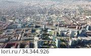 Image of european city Barcelona with view of blocks of flats, Spain. Стоковое видео, видеограф Яков Филимонов / Фотобанк Лори