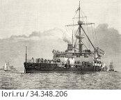 Trafalgar armored ship of the Royal British Navy 1890, England. Old... Стоковое фото, фотограф Jerónimo Alba / age Fotostock / Фотобанк Лори