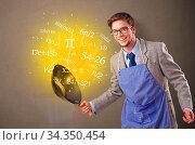 Купить «Person cooking numbers and mathematical staffs», фото № 34350454, снято 5 августа 2020 г. (c) easy Fotostock / Фотобанк Лори
