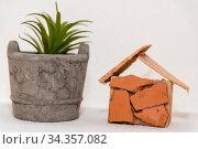 Neubau eines Eigenheimes und Wohnhauses - Traumhaus, Modell. Стоковое фото, фотограф Zoonar.com/Alfred Hofer / easy Fotostock / Фотобанк Лори