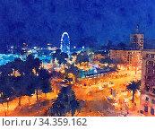Купить «Watercolour Art Print, Travel in Europe Scene as Vintage Home Decor», фото № 34359162, снято 4 августа 2020 г. (c) easy Fotostock / Фотобанк Лори