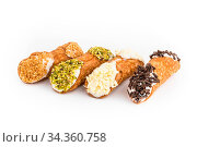 Variegated Sicilian Cannoli, Italian Dessert, isolated on a white... Стоковое фото, фотограф Zoonar.com/KYNA STUDIO / easy Fotostock / Фотобанк Лори