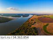 Aerial drone view of river landscape in sunny summer evening. Стоковое фото, фотограф Jan Jack Russo Media / Фотобанк Лори