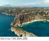 Aerial picturesque Ambolo beach. Javea, Costa Blanca, Spain. Стоковое фото, фотограф Alexander Tihonovs / Фотобанк Лори