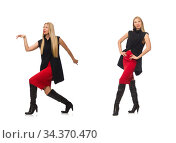 Pretty young girl in bordo skirt isolated on white. Стоковое фото, фотограф Elnur / Фотобанк Лори