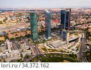 View of four modern business skyscrapers in Madrid (2019 год). Редакционное фото, фотограф Яков Филимонов / Фотобанк Лори