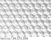 White background with cubical mosaic relief, 3 d. Стоковая иллюстрация, иллюстратор EugeneSergeev / Фотобанк Лори