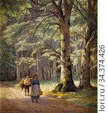 Schiottz-Jensen Niels Frederik - Forest Walk with a Load - Danish... Стоковое фото, фотограф Artepics / age Fotostock / Фотобанк Лори