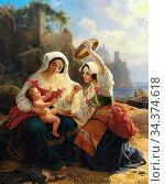Storch Frederik Ludvig - Two Italian Women with a Small Child - Danish... Редакционное фото, фотограф Artepics / age Fotostock / Фотобанк Лори