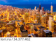 Sunset aerial view of Chicago Skylines building and Lake Michigan... Стоковое фото, фотограф Zoonar.com/Vichie81 / easy Fotostock / Фотобанк Лори